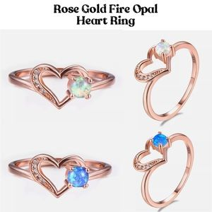 Rose Gold Micro Paved Open Heart Fire Opal Ring